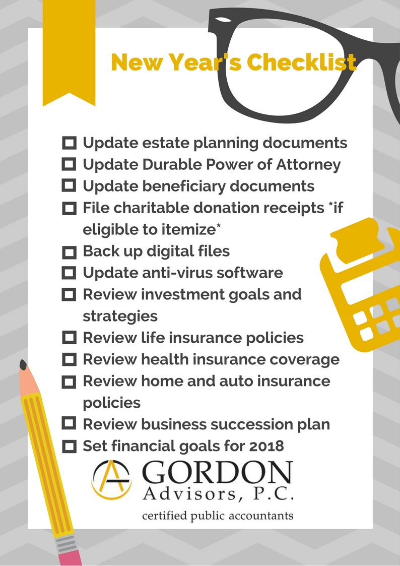 financial new year s checklist gordon advisors p c